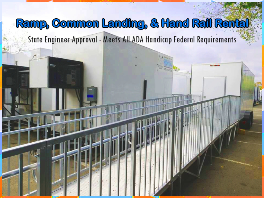 Ramp rentals common landing hand rails use for temporary kitchens facility 123