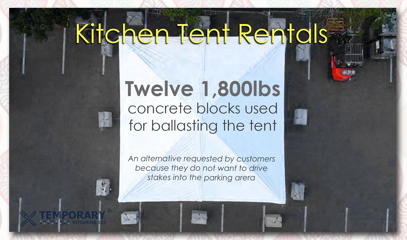 kitchen tent with ballasting blocks for support kitchen temporary install 123